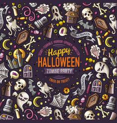 cartoon doodles happy halloween frame card design vector image