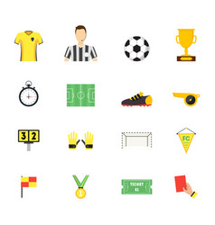 cartoon soccer sport game color icons set vector image