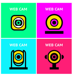 cctv hr video surveillance web cameras set vector image