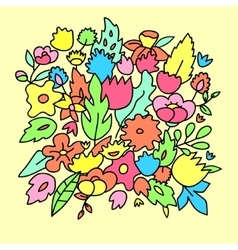 Childish cute pastel colored flowers vector image