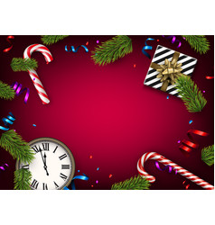 christmas background with gift and clock vector image