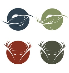 Collection of stickers with hunting and fishing vector