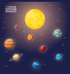 colorful poster of the solar system vector image vector image