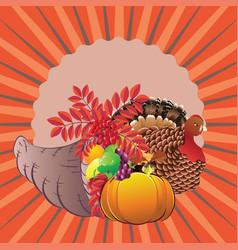 cornucopia with turkey bird vector image