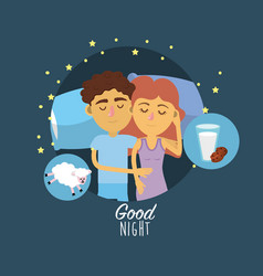 Couple sleeping together with good dreams vector