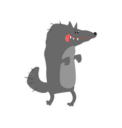 cute cartoon wolf happy birthday colorful vector image