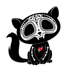 day dead dia de los muertos style kitty vector image