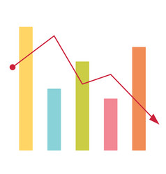 declining bar chart with arrow going down vector image