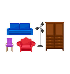 Different types of various furniture for home vector