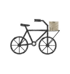 drawing delivery bicycle box service vector image