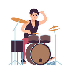 drummer young man playing on drums vector image