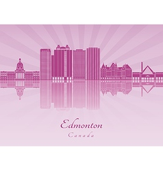 Edmoton V2 skyline in purple radiant orchid vector image