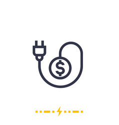 Electricity costs icon on white with electric plug vector