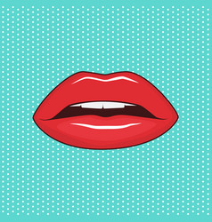 Female lips on turquoise background vector