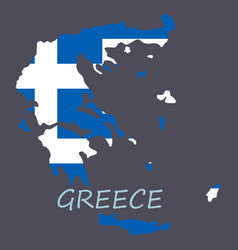 flag map of greece vector image