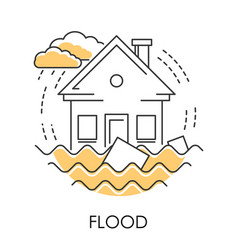 Flood isolated icon house drowning in water vector