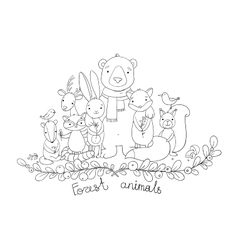 forest cartoon animals vector image