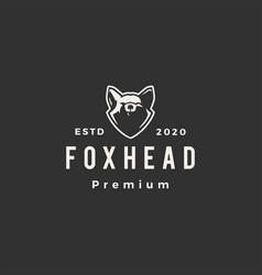fox head hipster vintage logo icon vector image