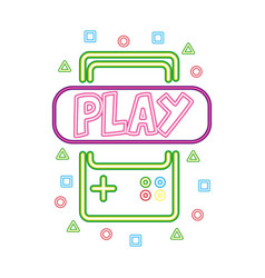 Gamepad play neon video game vector