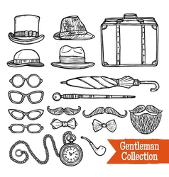 Gentelman Vintage Accessories Doodle Black Set vector