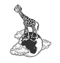 Giraffe in space helmet on globe sketch vector