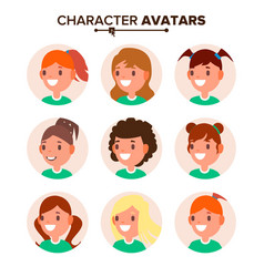 Girl character avatar set woman face vector