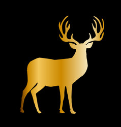 gold silhouette of reindeer with big horns on vector image