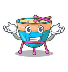 Grinning cartoon timpani in the orchestra group vector
