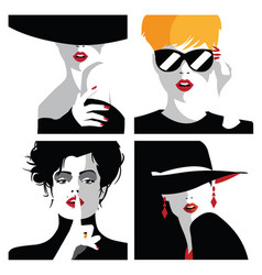 group portraits fashion women in style pop art vector image