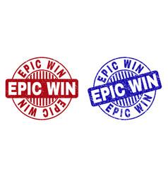 Grunge epic win textured round stamp seals vector