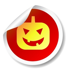 Halloween pumpkin flat icon sticker vector image
