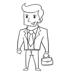 Hand draw of businessman character vector