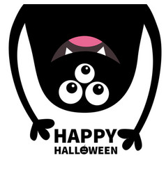 Happy halloween card smiling monster head vector