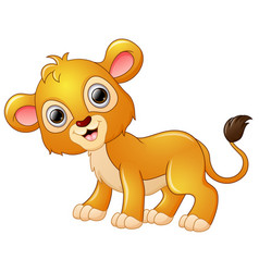 happy lion cartoon isolated on white background vector image