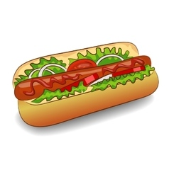 Hot dog with ketchup vector
