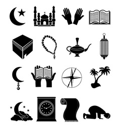 Islam icons set vector