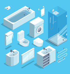 isometric furniture elements set of bathroom vector image