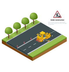 isometric pavement asphalt road marking paint and vector image