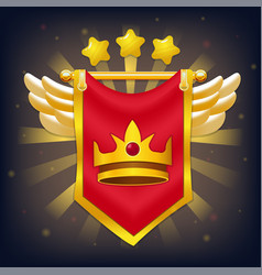 knight flag with wings stars and crown vector image