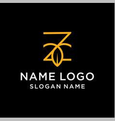 letter z leaf logo vector image