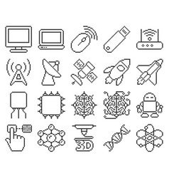 Line pixel icons set high technology vector