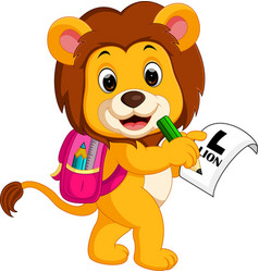 lion going to school vector image
