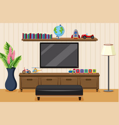Living room with television and toys vector