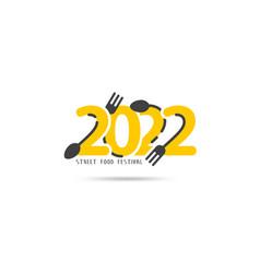 logo 2022 new year street food festival creative vector image