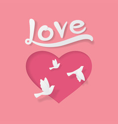 love and valentine day origami style vector image