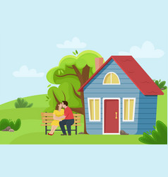 loving couple kissing on a bench near the village vector image