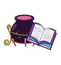 magic witch cauldron with book vector image