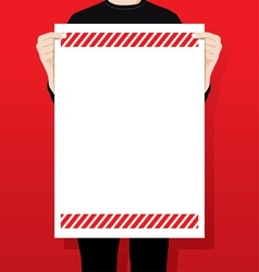man holding a blank paper vector image