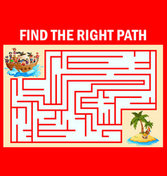 maze game find a pirates way to treasure island vector image