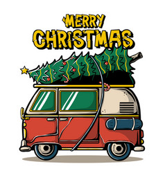 Merry christmas camper van vector